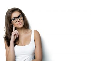 thinking woman with nerd glasses. white background